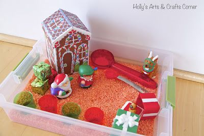 Toddler Sensory Activity: Holiday Sensory Bin
