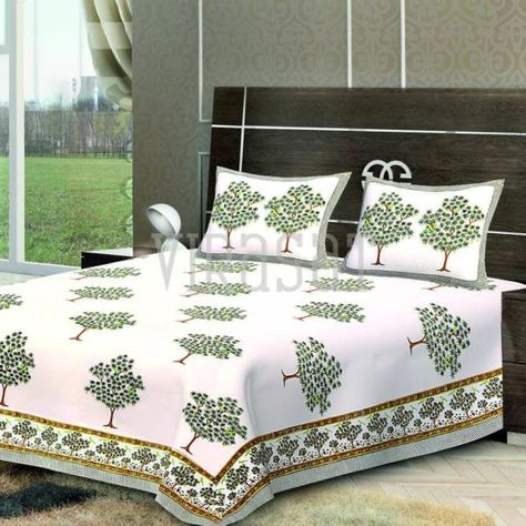 65e26b21f33 Shop White Base Floral Printed Tree Double Bed Sheet with Two Pillow Covers  at Virasat. DM or email us at hello thevirasat.com for retail orders