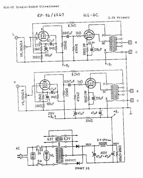 Dave Schmarders 2 Tube Audio Amplifier Schematic