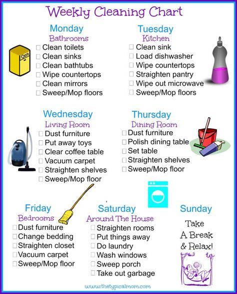 Great Daily Cleaning Schedule  Household    Cleaning