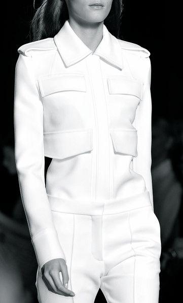 White tailoring, chic military fashion details // Victoria Beckham Spring 2015
