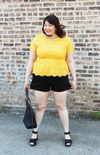 84955a30555 plus-size-black-shorts-325x500 How to Wear Shorts for Plus Size–20 Plus  Size Shorts Outfits