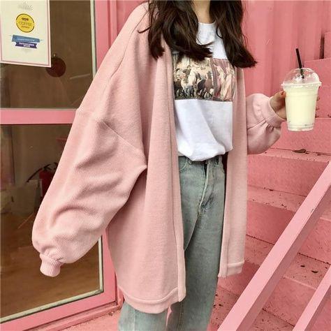 Pink Aesthetic Oversized Loose Cardigan