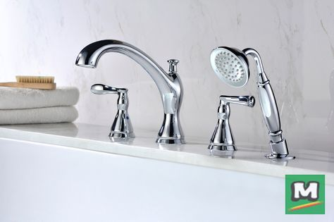 Enjoy The Classic Style Of A Tuscany Jensen Roman Tub Faucet With Handheld Showerhead Featuring Two T Roman Tub Faucets Tub And Shower Faucets Shower Faucets