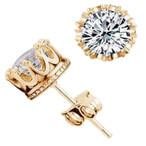 14K White Gold Plated Simulated Diamond Stud Earrings For Womens Girls Jewellery