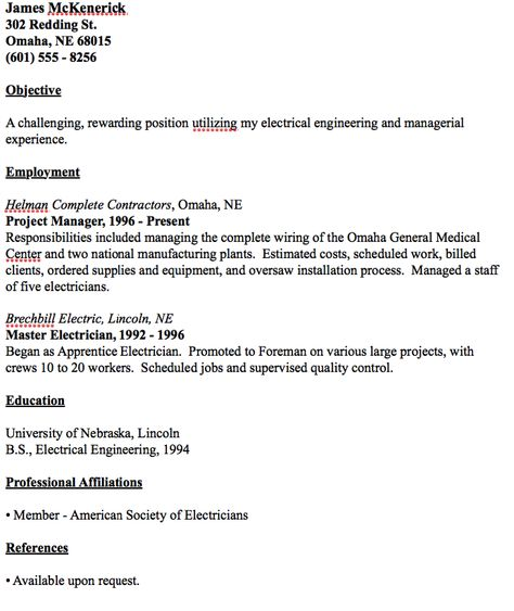 Example Of Master Electrician Resume - http\/\/resumesdesign - electrical technician resume