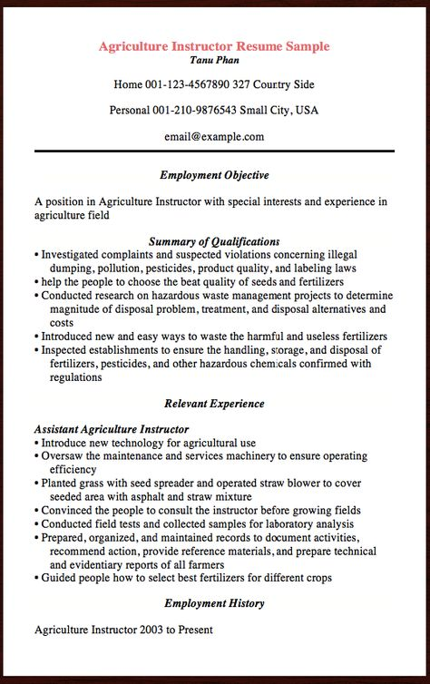 Agriculture Instructor Agriculture sector provide edibles to - agriculture resume template