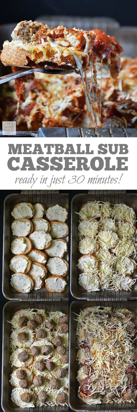 Easy to make, saucy, and cheesy, this Meatball Sub Casserole | by Life Tastes Good is a family favorite dinner that's on the table in just 30 minutes! #LTGrecipes