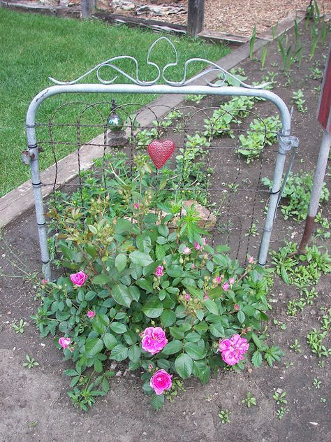 I've got the old garden gate from where I grew up - this is a good idea of how to use it in the garden. Maybe with some climbing roses...