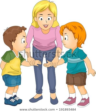 Illustration Featuring Two Little Boys Being Encouraged To Make Up