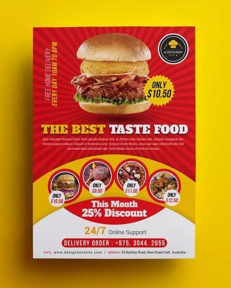 Food Flyer Design Templates Pin On Menu Designs Burger Cafe