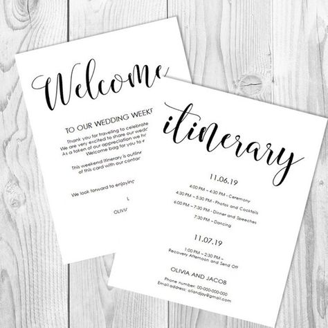 wedding itinerary welcome card timeline template wedding timeline welcome letter template print
