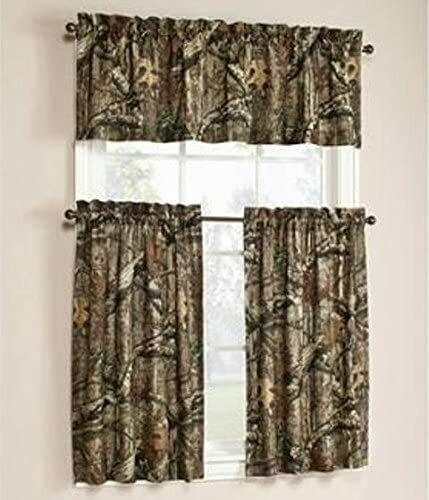 Mossy Oak Green Break Up Infinity Window Curtain Set 2 Tier Panels With Valance Mossyoak Camouflage In 2020 Window Curtains Curtains Wrought Iron Patio Furniture