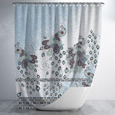 Winston Porter Hardwick Peacock Painting 2 Piece Shower Curtain