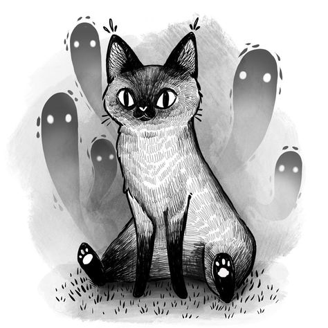 "Stephanie Bayles on Instagram: ""A cat named EV . . . . . #illustration #blackandwhite #cat #drawing #ghost #siamesecat #digitalart #myart #instaart #instart #art…"""