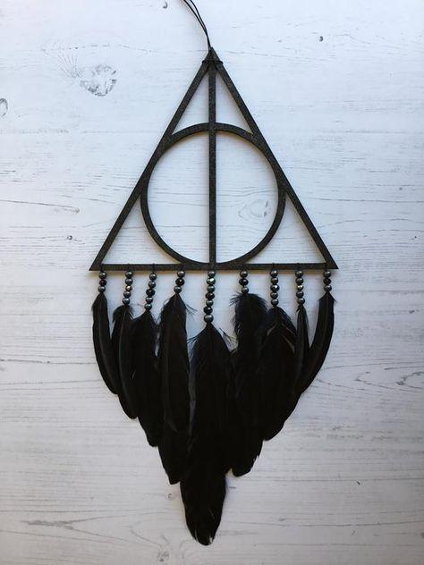 Extra Large Black Geometric Dreamcatcher - black dreamcatcher, black dream catcher, geometric decor, black wall hanging, unique dreamcatcher