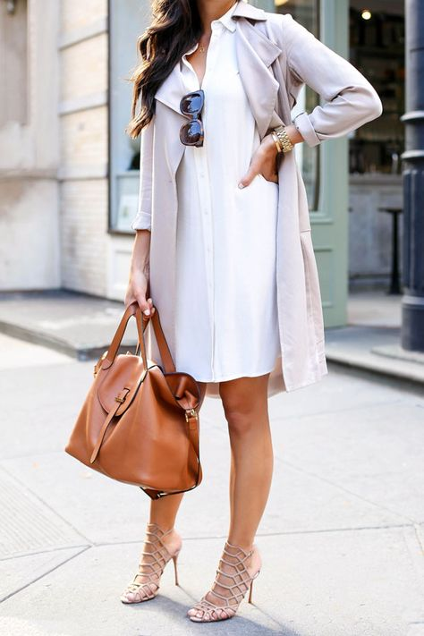 Airy And Lovely Blush Trench Coat White Shirt Dress Outfit Idea by With Love From Kat
