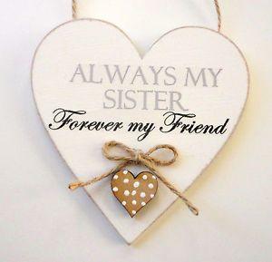 Sister Plaque Sister Gift Shabby Chic Heart Plaque Friend Plaque Friendship 10cm | eBay