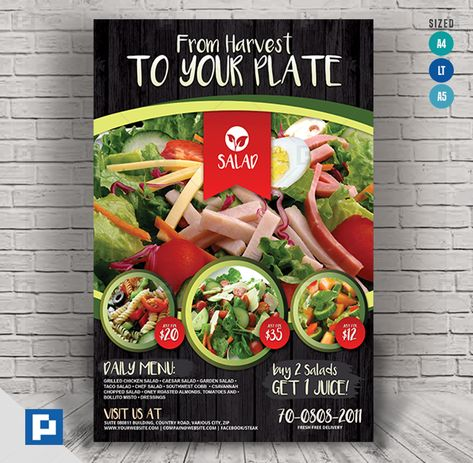 Vegetarian salad food flyer - PSDPixel