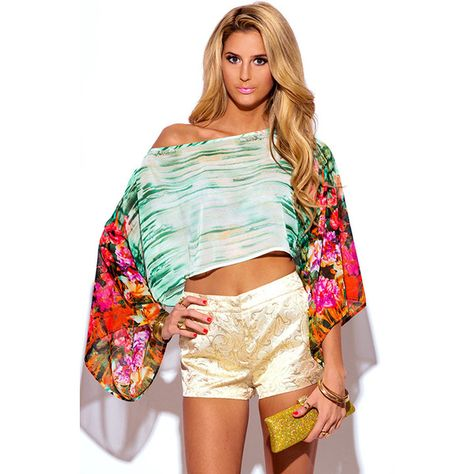 8632e082a4ca6 Floral print semi sheer chiffon off shoulder kimono sleeve boho party...  ( 10) ❤ liked on Polyvore featuring tops