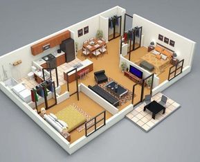 3d Floor Plan 2 Bed Small House Plans 3d Home Design Small House Design