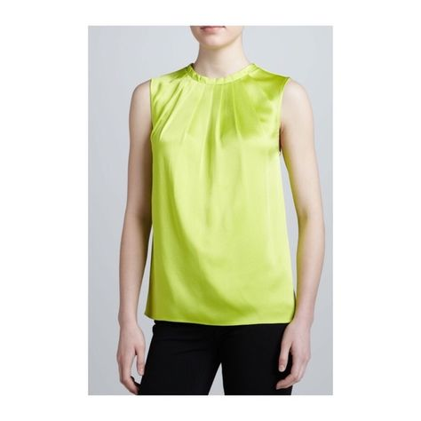 0550e1d715 Lime Green Michael Kors Pleated Satin Top Satin top