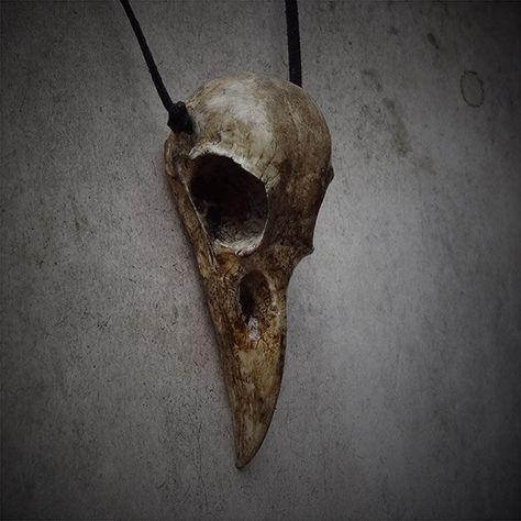 Antique Gold Crow Bird Skull Replica in Jet Black Necklace Costume Halloween
