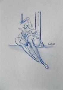 """Akt Zeichnung, vom Künstler direkt. """"nude"""",serie """"nude women"""" Hajewski Gc, ink , pen original chin. blue, Zeichenkarton 300g/m², sauerfrei und alterungsbeständig, naturweiß und rau, Größe ca: 25x18cm signiert"""