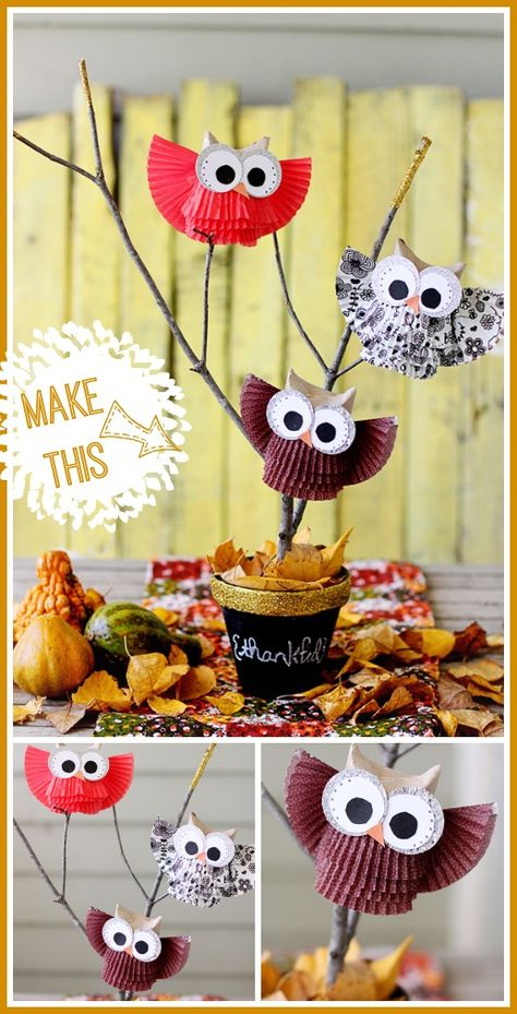 Cupcake Liner Owl Centerpiece | Fall decorations from @sugarbeecrafts | Thanksgiving centerpiece ideas