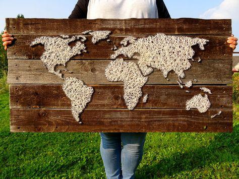 """Weltkarte Bild Vintage aus Holz und Wolle   Landkarte Globus Atlas Shabby Chic Dekoration String Art Poster Wand   105cmx48cm - 41.3""""x18.9"""""""