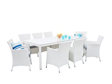 Gartenmobel Set Rattan Weiss 220 X 100 Cm 8 Sitzer Auflagen Grau Italy In 2020 Gartenmobel Garten Essgruppe Gartenmobel Sets