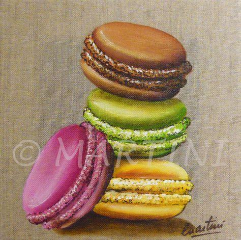 Macaroons Painting Mon Tableau 4 Macarons Illustration Dessert