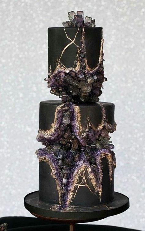 Top 20 Amethyst Geode Wedding Cakes Black geode cake with purple, grey crystals