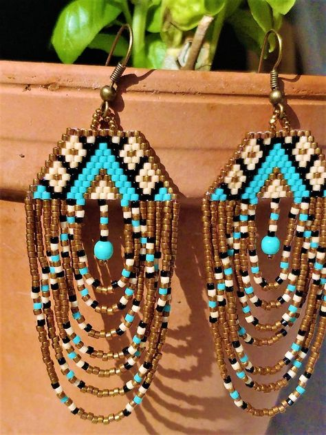Items similar to unique drop earrings / ethnic pattern / chandelier earrings / beaded jewelry / gift / turquoise / bronze on Etsy Seed Bead Jewelry, Seed Bead Earrings, Diy Earrings, Chandelier Earrings, Hoop Earrings, Beaded Chandelier, Fringe Earrings, Seed Beads, Beaded Earrings Native