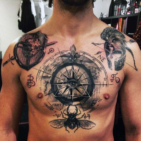 amazing mens scarab bettle chest tattoo design inspiration