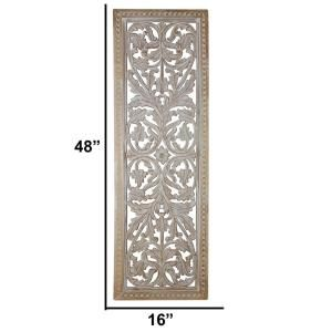 Benzara Attractive Mango Wood Wall Panel With Intricate Details