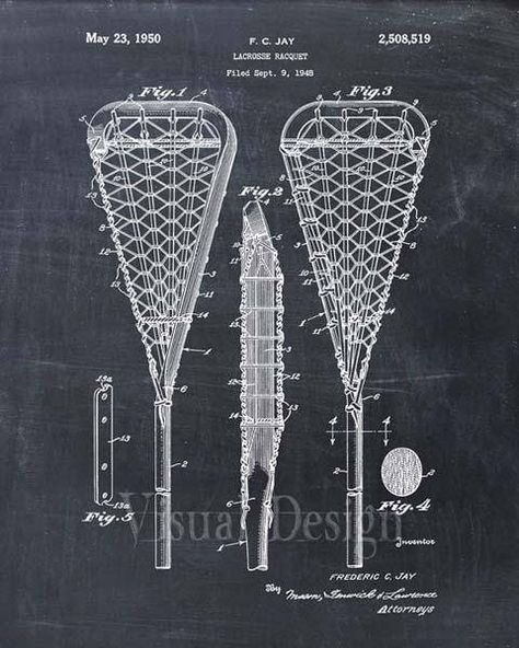 Net Helmet Sports Patent Print Lacross set of 3 Stick