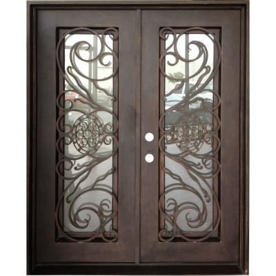 Double Front Entry Doors With Glass 64 X 80 Trento 30 In X 78 In Copper Right Hand Inswing Wrought Iron Doors Wrought Iron Doors Metal Front Door