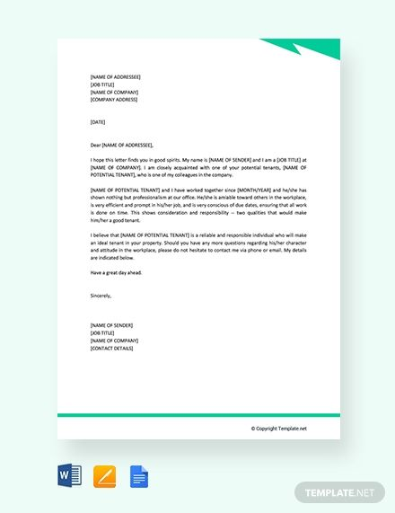 Free Professional Reference Letter For Apartment Application