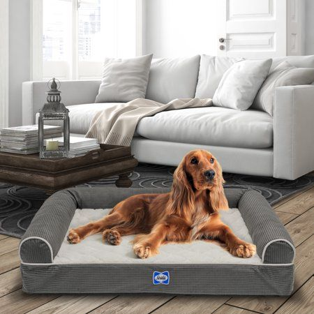 Sealy Orthopedic Couch Bed Large Gray Walmart Com In 2021 Foam Pet Bed Dog Bed Large Bolster Dog Bed