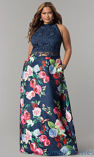 Long Two-Piece Lace-Bodice Prom Dress   Best formal dresses ...