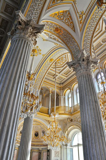 Pavilion Hall in Hermitage Winter Palace, St Petersburg, Russia Architecture Baroque, Russian Architecture, Classical Architecture, Beautiful Architecture, Beautiful Buildings, Architecture Details, Beautiful Places, Cultural Architecture, Renaissance Architecture