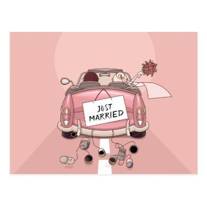Just Married Pink Wedding Announcement Love Postcard - love gifts cyo personalize diy