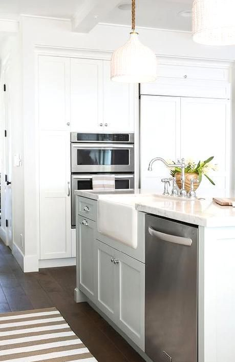 A Pair Of Rope And White Wicker Pendants Palecek Taza White Pendants Apartment Kitchen Island Kitchen Island With Sink Kitchen Island With Sink And Dishwasher