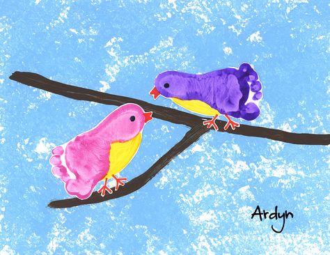 footprint birds craft for kids