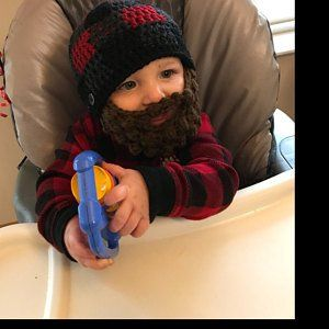 Christmas fun theme red buffalo plaid for baby and kids- Birthday Party gift Lumberjack Bearded Beanie with detachable beard
