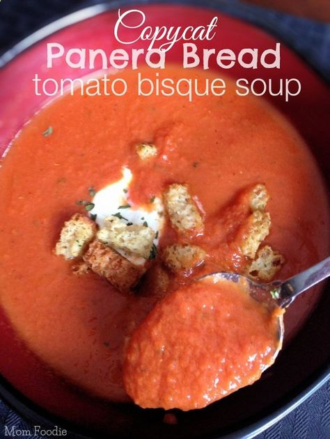 Copycat Panera Bread Tomato Bisque Soup Recipe... perfect for those days you would really rather hang out in your PJs than head to a restaurant ;) Check out more recipes like this! Visit yumpinrecipes.com/