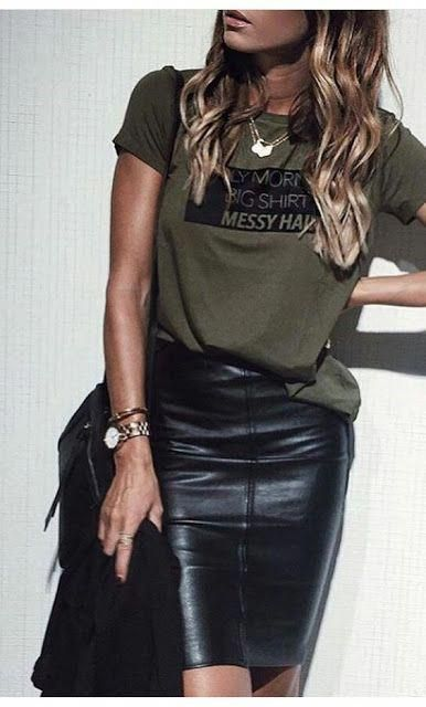Edgy looy, Kahki messaging shirt and leather pencil skirt #edgywomensoutfuts   -  #pencilskirt #pencilskirtCropTop #pencilskirtDesigns #pencilskirtGreen