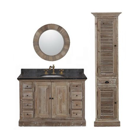 Marble Top 48 Inch Single Sink Rustic Style Bathroom Vanity With Matching Wall Mirror And Linen Tower Rustic Bathroom Vanities Single Sink Bathroom Vanity Bathroom Sink Vanity