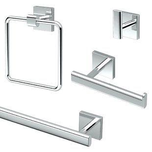 Square Bathroom Towel Bar Set Brushed Nickel Wayfair Bathroom